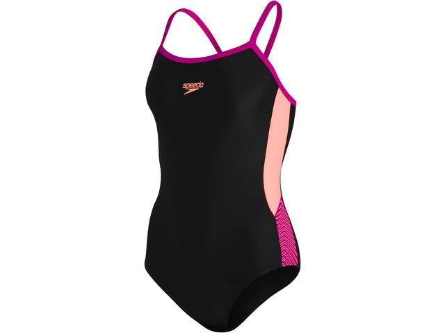 speedo Dive Thinstrap Muscleback Swimsuit Women, black/neon fire/electric pink